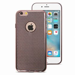COQUE ARRIERE GEL GRILLAGE CHROME ROSE COMPATIBLE IPHONE 6/6S
