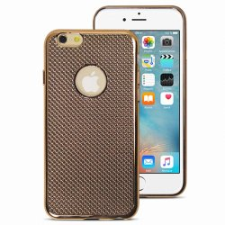 COQUE ARRIERE GEL GRILLAGE CHROME OR COMPATIBLE IPHONE 6/6S