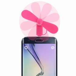 VENTILATEUR UNIVERSEL ROSE FLUO COMPATIBLE MICRO USB ET APPLE 5/5S/5C/SE/6/6S/6+/6S+