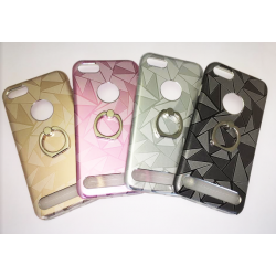 COQUE METAL IPHONE 6/6S/7 INTERIEUR SILICONE BAGUE PRISME ROSE