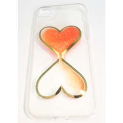 COQUE GEL SILICONE POUR IPHONE 7 SABLIER RELIEF PAILLETTE ORANGE