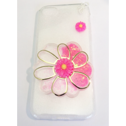 COQUE GEL SILICONE POUR IPHONE 7 FLEUR RELIEF PAILLETTE ROSE
