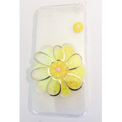 COQUE GEL SILICONE POUR IPHONE 7 FLEUR RELIEF PAILLETTE JAUNE