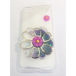 COQUE GEL SILICONE POUR IPHONE 7 FLEUR RELIEF PAILLETTE VIOLET