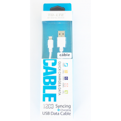 CABLE DATA QUICK CHARGE TD-LTE BLANC USB/ LIGHTNING SOUS BOITE BLISTER POUR IPHONE 8/8+