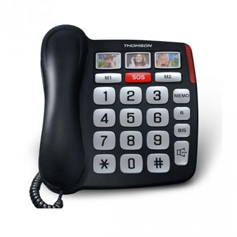 TELEPHONE FILAIRE SENIOR THOMSON SEREA SAFY GROSSES TOUCHES 3 APPELS PHOTOS NOIR