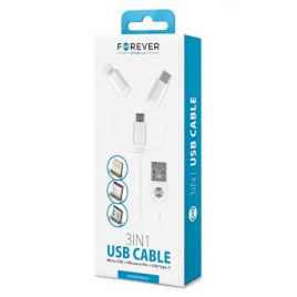CABLE USB FOREVER 3 EN 1 MICRO USB LIGHTNING USB C BLANC