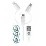 CABLE USB FOREVER 3 EN 1 MICRO USB LIGHTNING USB C BLANC