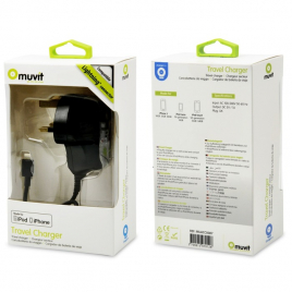 CHARGEUR POUR IPHONE 5 à 12 MUVIT MFI AGREE APPLE 1A NOIR