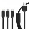 CABLE USB 3 en 1 MAXLIFE MICRO USB + TYPE C + LIGHTNING 2A 1 M NOIR