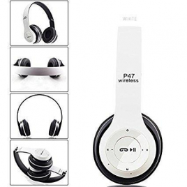 CASQUE BLUETOOTH P47 5.0 STEREO MP3 AVEC MICRO CONTROLE DU VOLUME PLIABLE BLANC