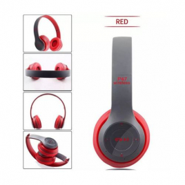 CASQUE BLUETOOTH P47 5.0 STEREO MP3 AVEC MICRO CONTROLE DU VOLUME PLIABLE ROUGE