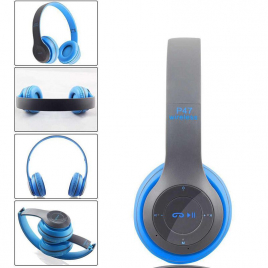 CASQUE BLUETOOTH P47 5.0 STEREO MP3 AVEC MICRO CONTROLE DU VOLUME PLIABLE Bleu