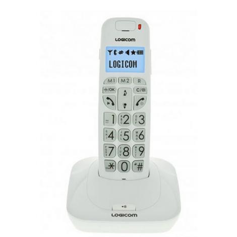 TELEPHONE SANS FIL LOGICOM CONFORT 150 RETROECLAIRE MAINS LIBRES BLANC
