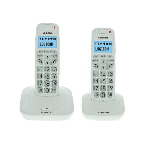 TELEPHONE SANS FIL LOGICOM CONFORT 150 2 COMBINES RETROECLAIRE MAINS LIBRES BLANC