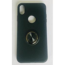COQUE IPHONE XS MAX SILICONE AVEC ANNEAU + ROND NOIRE SOUS SACHET BLISTER