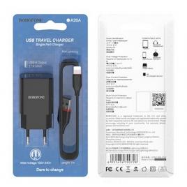 CHARGEUR SECTEUR USB 2,1 A BOROPHONE A20A + CABLE USB LIGHTNING 1 M