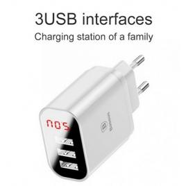 CHARGEUR BLANC BASEUS 3 USB 3.4A / FAST CHARGE INTELLIGENT AVEC ECRAN DIGITAL