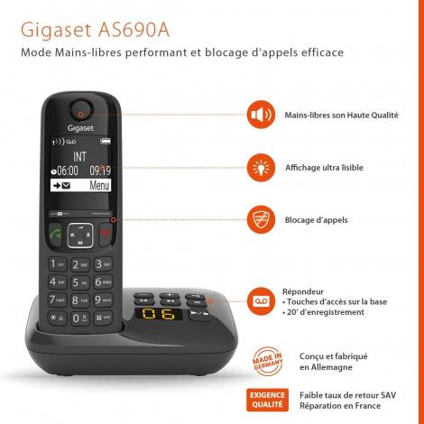 TELEPHONE SANS FIL GIGASET AS690A DUO + REPONDEUR