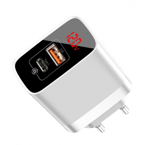 CHARGEUR BASEUS USB + TYPE C 18W + ECRAN LCD