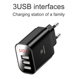 CHARGEUR NOIR BASEUS 3 USB 3.4A / FAST CHARGE INTELLIGENT AVEC ECRAN DIGITAL