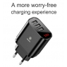 CHARGEUR NOIR BASEUS 3 USB 3.4A / FAST CHARGE INTELLIGENT AVEC ECRAN DIGITAL