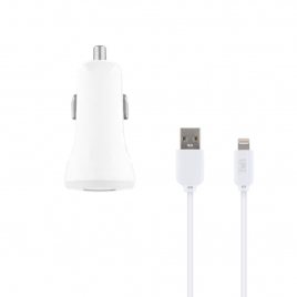 CHARGEUR ALLUME CIGARE UNIVERSEL 2 USB QIHANG QH-C3650 + CABLE MICRO USB 2,1 A 1 M BLANC
