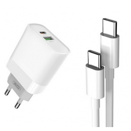 CHARGEUR 2 SORTIES USB ET TYPE C + CABLE TYPE C/ TYPE C