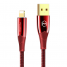 CABLE LIGHTNING ROUGE AUTO POWER OFF 3A 1.8M LUMINEUX