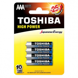 PACK DE 4 PILES AAA TOSHIBA ALCALINE