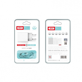 CHARGEUR 2USB + DATA CABLE MICRO USB 2.4A BLANC