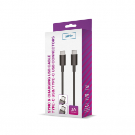 DATA CABLE TYPE C / TYPE C FAST CHARGE 3A NOIR SETTY